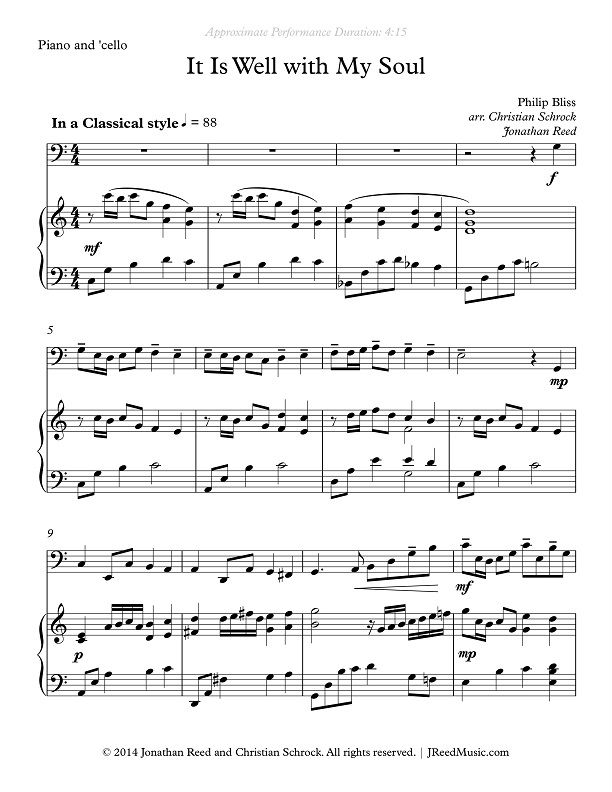 JReedMusic » It Is Well with My Soul – Piano/Cello